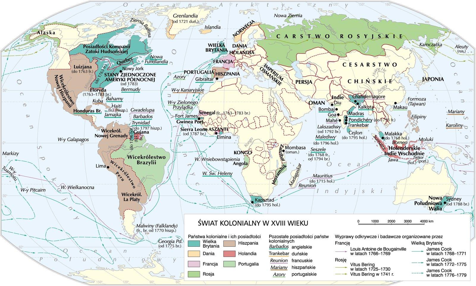 Świat kolonialny wXVIII w. Świat kolonialny wXVIII w. Źródło: Krystian Chariza izespół, licencja: CC BY 4.0.