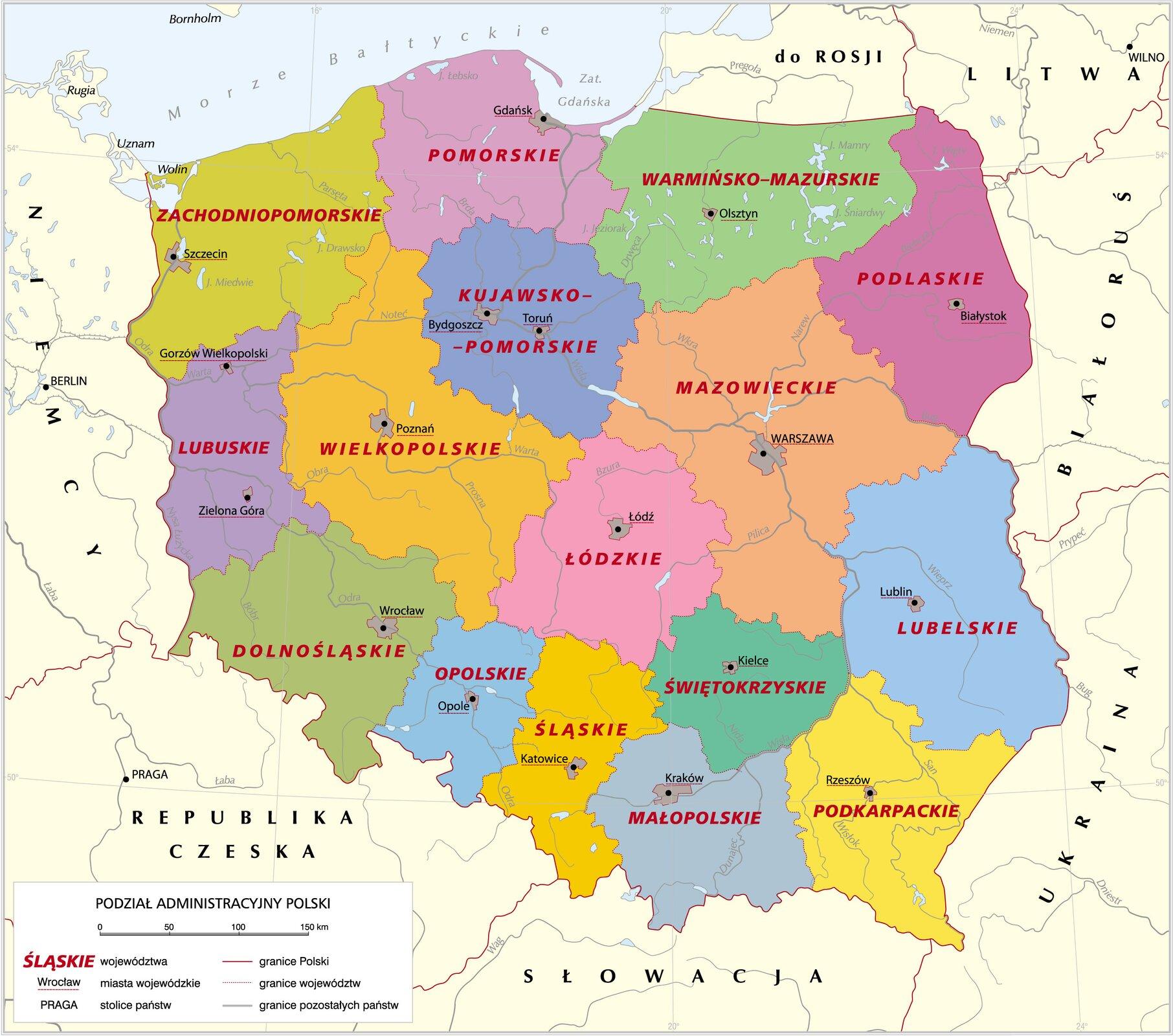 mapa administracyjna Polski Źródło: Krystian Chariza izespół, licencja: CC BY 3.0.