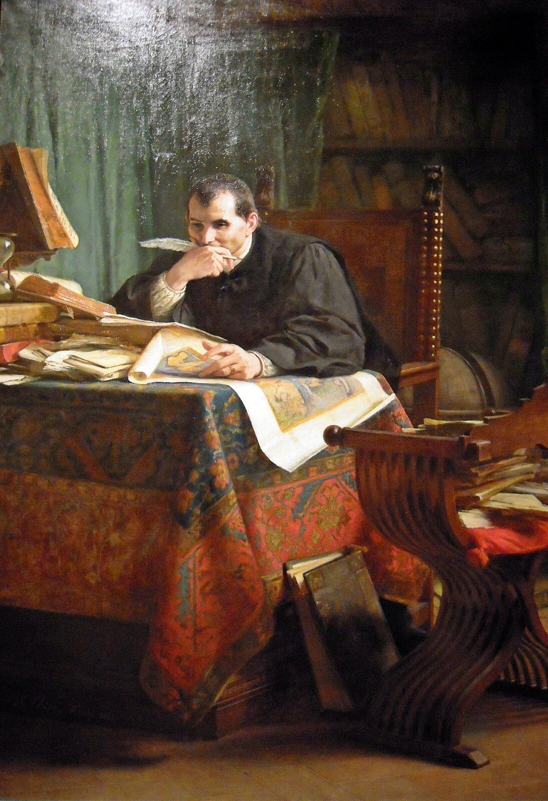 Niccolo Machiavelli przy pracy wg włoskiego obrazu zXIX w. Źródło: Stefano Ussi, Niccolo Machiavelli przy pracy wg włoskiego obrazu zXIX w., 1894, Galeria Sztuki Nowoczesnej iWspółczesnej wRzymie, domena publiczna.