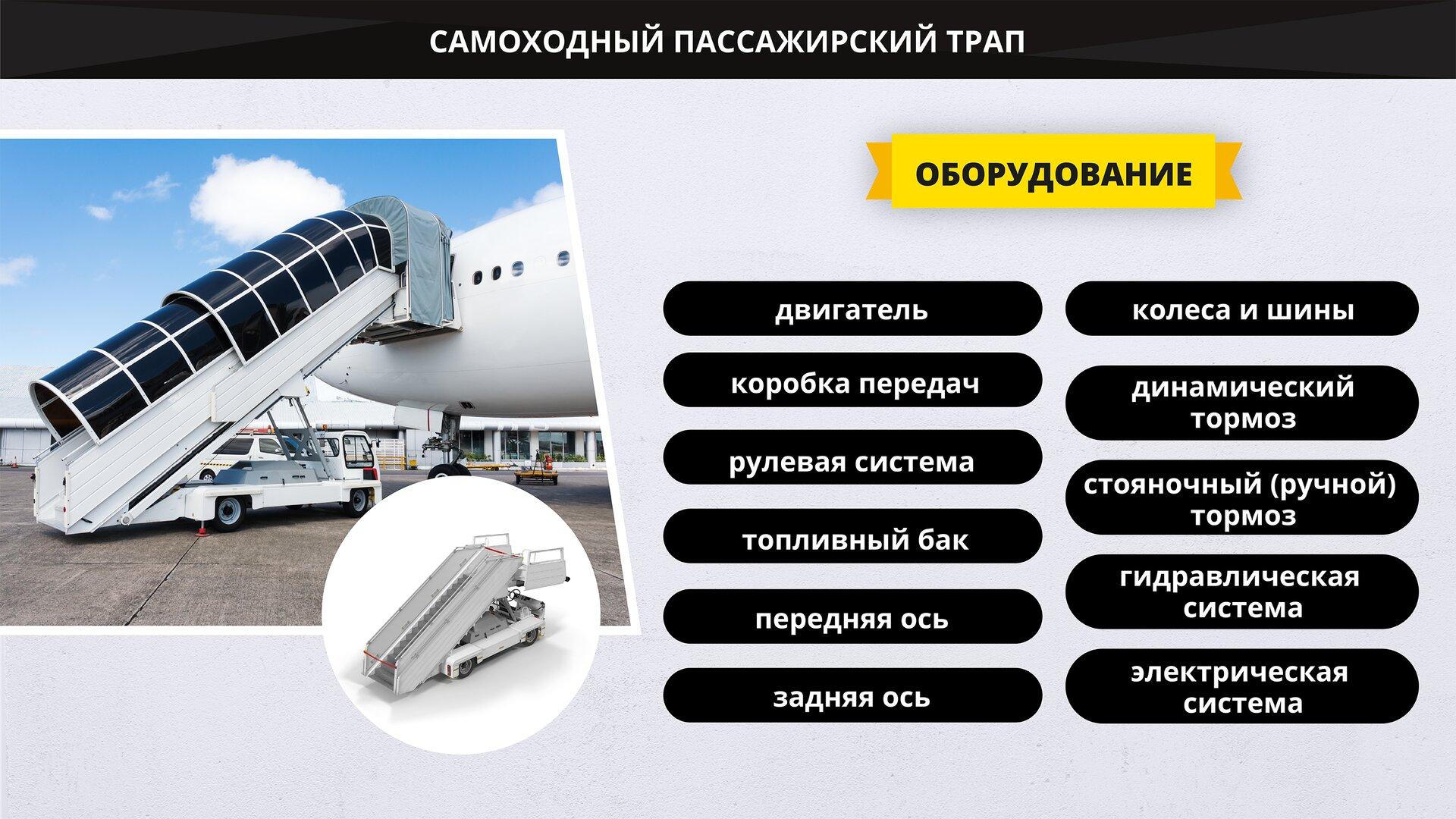 На изображении представлен самоходный пассажирский трап и выделены его элементы. Grafika przedstawia samojezdne schody pasażerskie oraz wyszczególnia ich elementy.