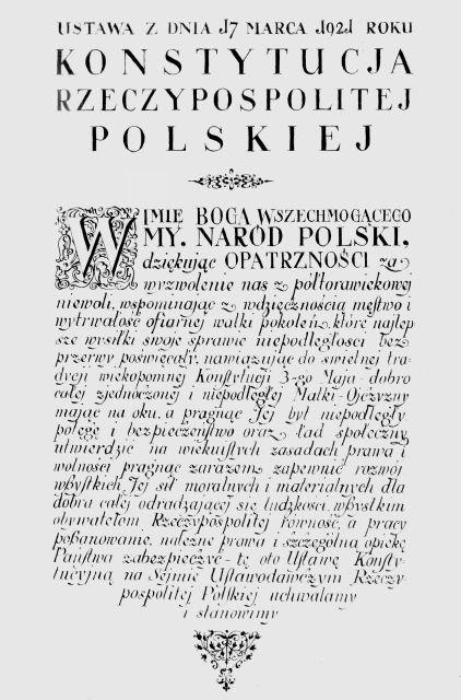 Preambuła do konstytucji Preambuła do konstytucji Źródło: domena publiczna.