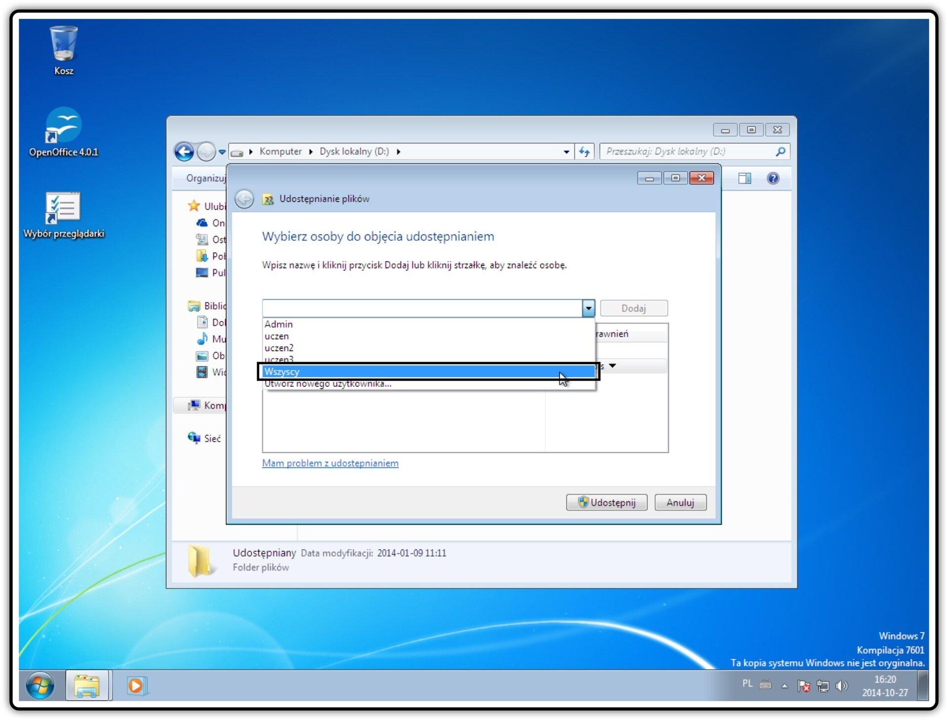 Slajd 2 galerii zrzutów okien: Udostępnianie zasobów wsystemie Windows