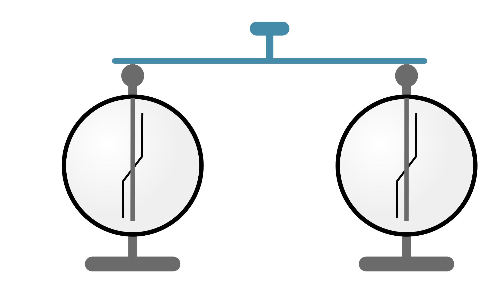 Ilustracja przedstawia dwa elektroskopy. Elektroskopy stoją obok siebie. Elektroskopy przestawione są jako symboliczne schematy. Górna część elektroskopu to duży okrąg. Okrąg ułożony jest na podstawce. Na szczycie okręgu elektroskopu znajduje się głowica. Głowica to mała kula spoczywająca na krótkiej podpórce. Głowice połączone są poziomą linią. Pozioma linia to łącznik. Na środku poziomego łącznika znajduje się krótka czerwona linia. Jest to izolowany uchwyt. Wewnątrz okręgu elektroskopu znajdują się dwie czarne linie krzyżujące się dokładnie wpołowie długości. Pionowa linia połączona zgłowicą to pręcik. Pręcik nie dotyka dna okręgu. Wpołowie pręcika zawieszony jest listek. Listek to zakrzywiona linia. Listek jest ruchomy. Listek może odchylać się od pręcika wtrakcie doświadczenia.