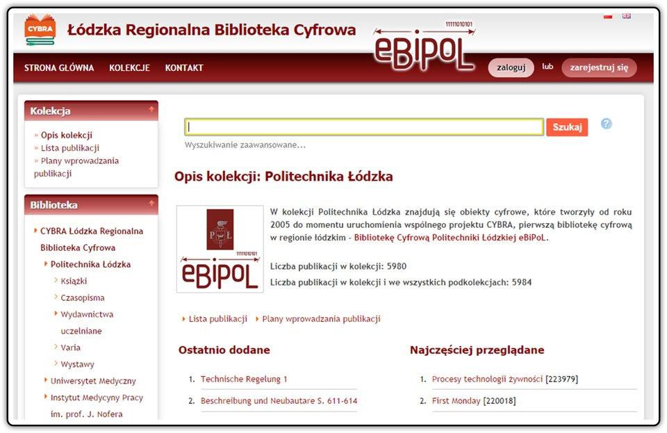 Zrzut okna strony ŁÓDZKIEJ REGIONALNEJ BIBLIOTEKI CYFROWEJ