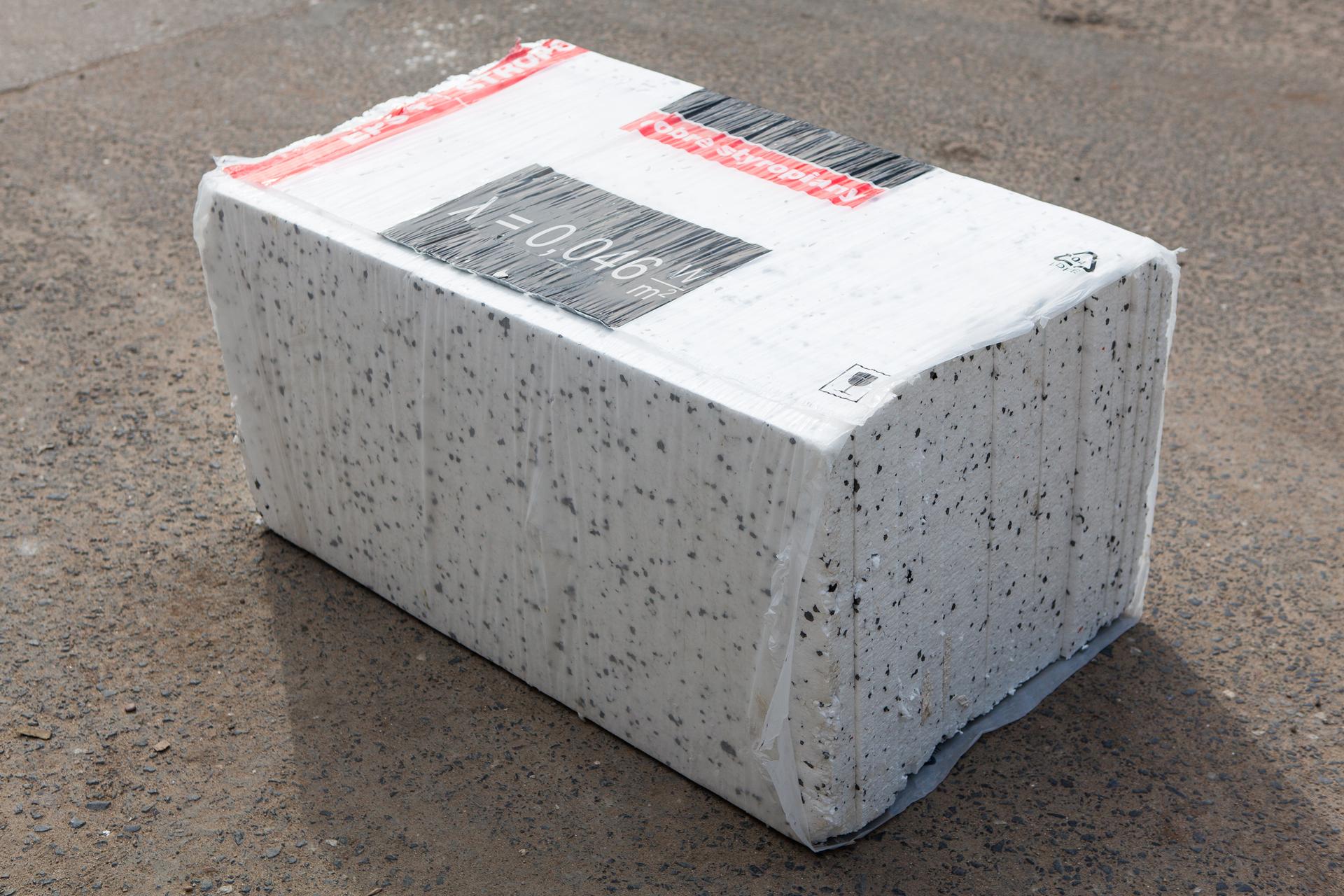 Zdjęcie paczki styropianu znapisem: λ = 0,046 W/m2
