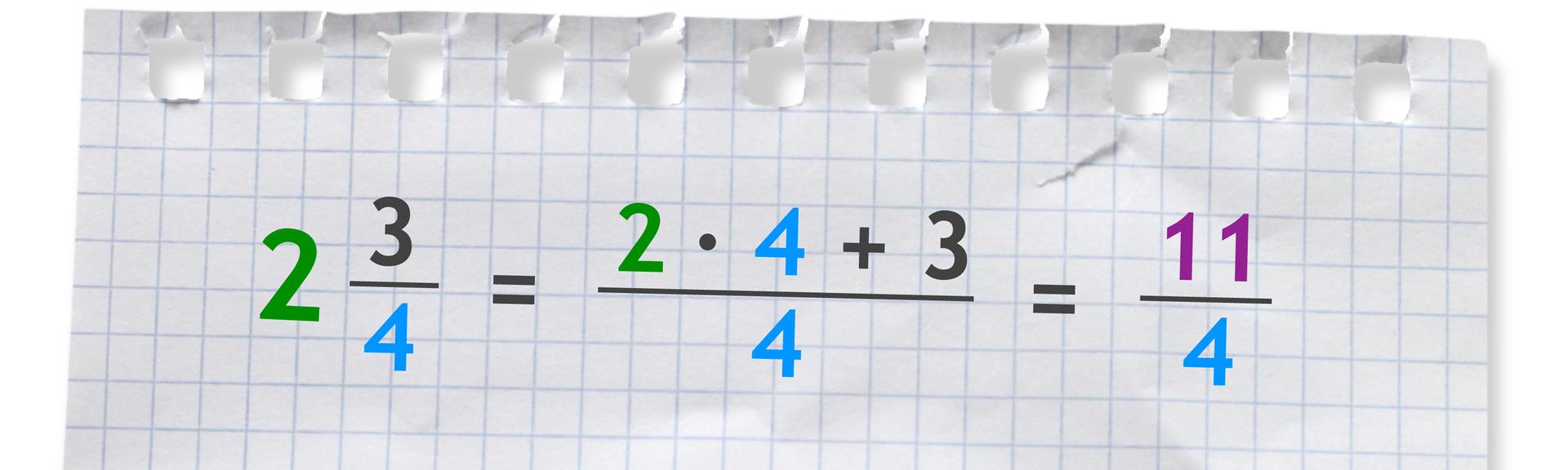 Przykład: liczba mieszana dwie całe itrzy czwarte równa się jedenaście czwartych. Aby obliczyć licznik ułamka należy wykonać działanie: (2 razy 4) +3.
