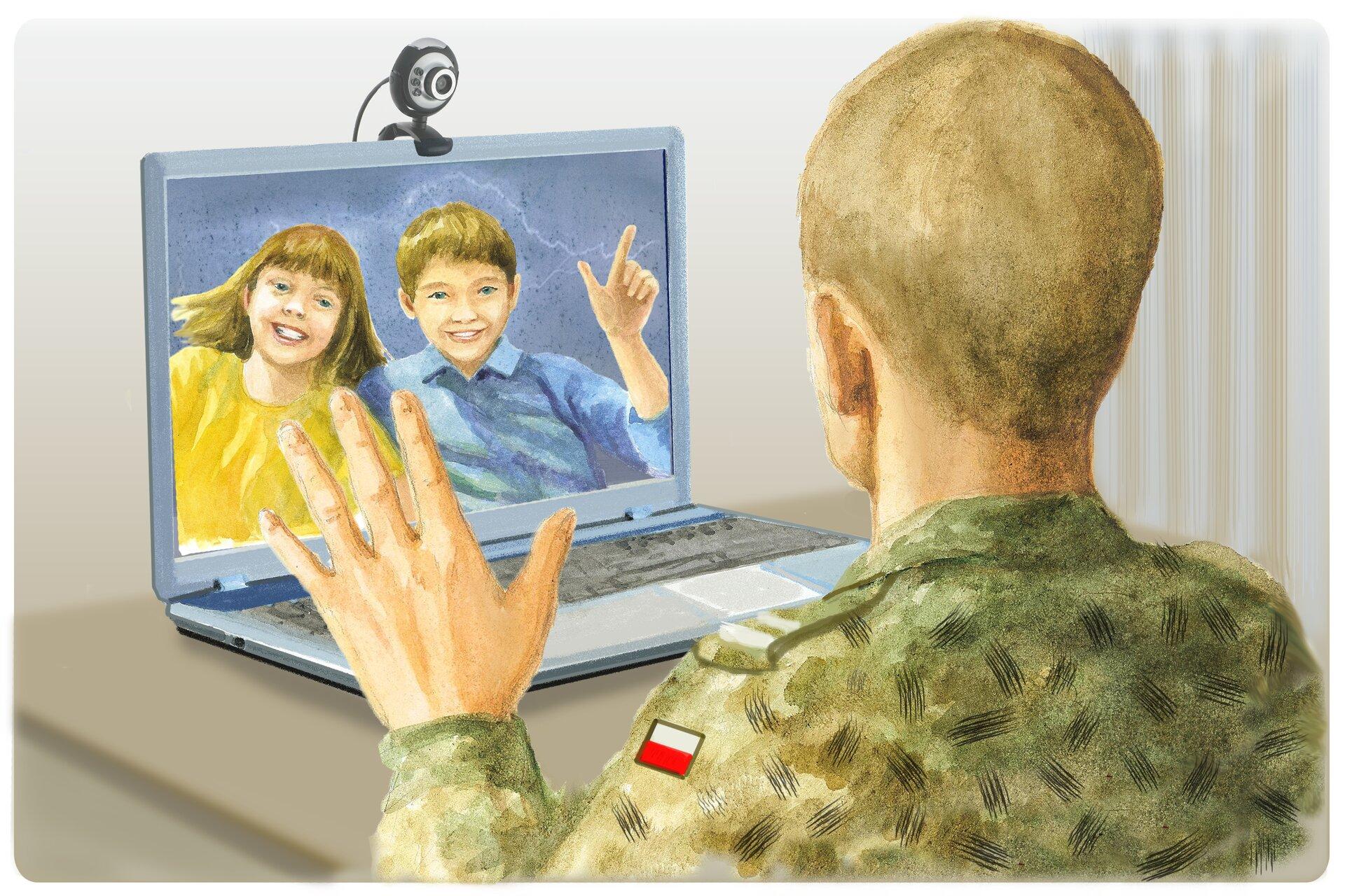 Ilustracja przedstawiająca osoby rozmawiających za pomocą Skype'a