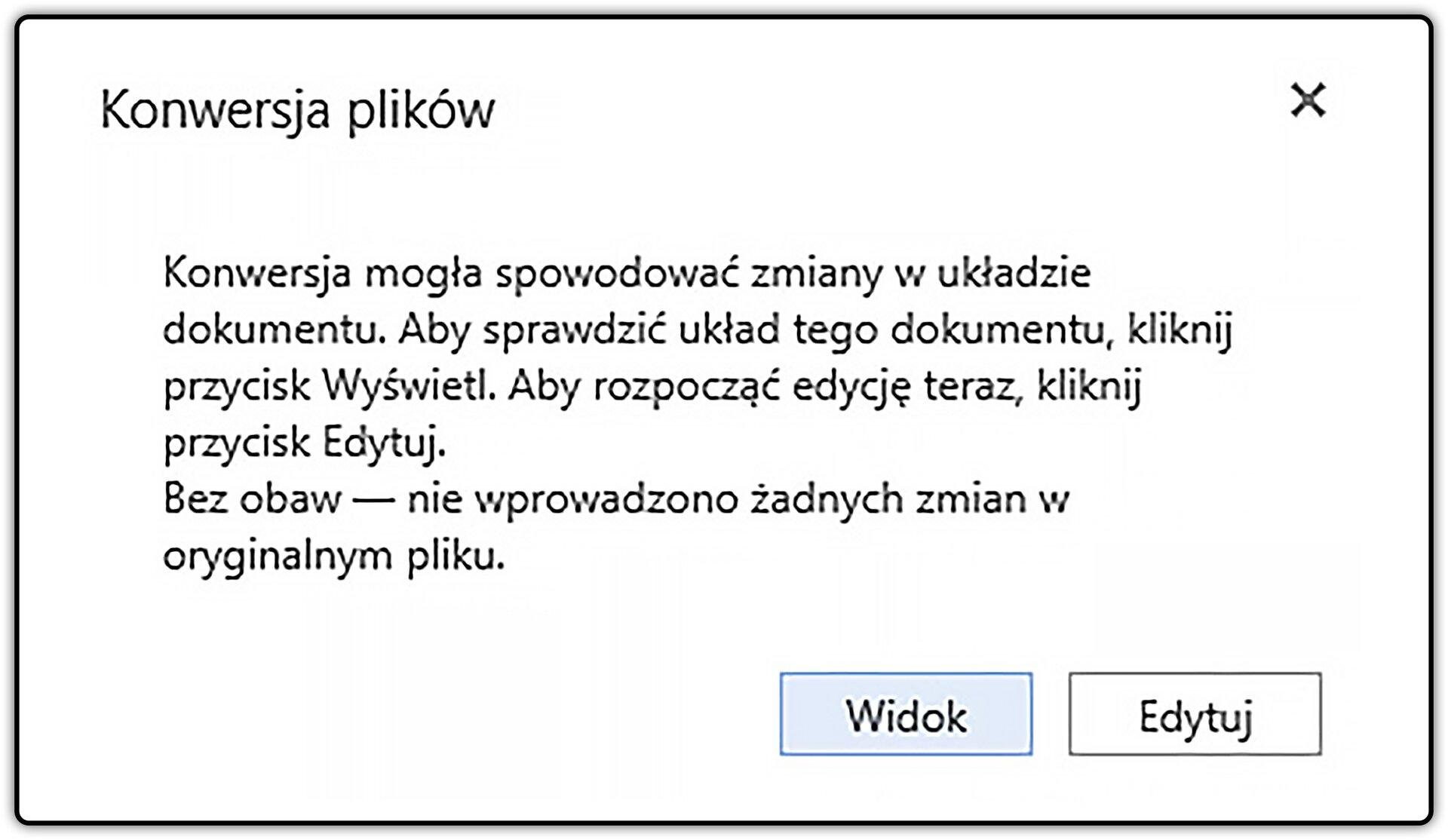 Zrzut okna: Konwersja plików zzaznaczonym przyciskiem: Widok