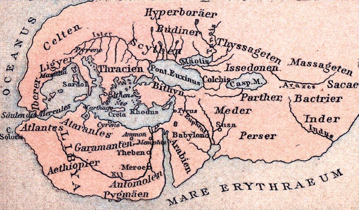 Mapa świata za czasów Herodota Mapa świata za czasów Herodota Źródło: domena publiczna.
