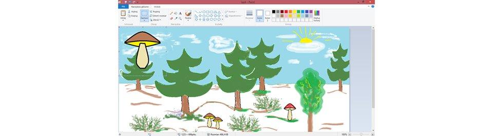 Zrzut okna programu Paint zilustracją przedstawiającą las zgrzybami