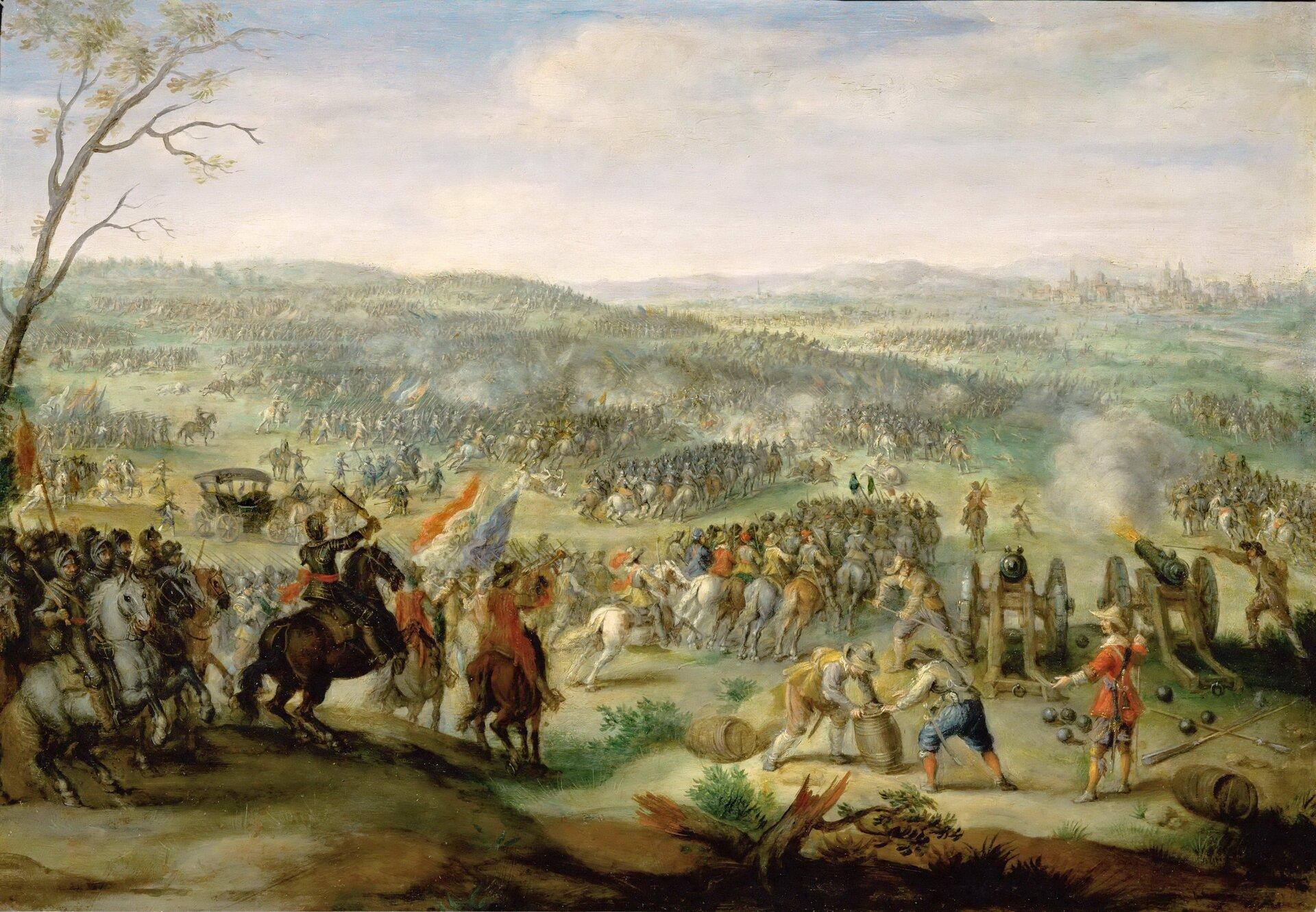 Bitwa na Białej Górze koło Pragi (1620) Inny obraz Pietera Snayersa przedstawiający bitwę pod Białą Górą. Źródło: Pieter Snayers, Bitwa na Białej Górze koło Pragi (1620), olej, blacha miedziana, Luwr, Paryż, domena publiczna.