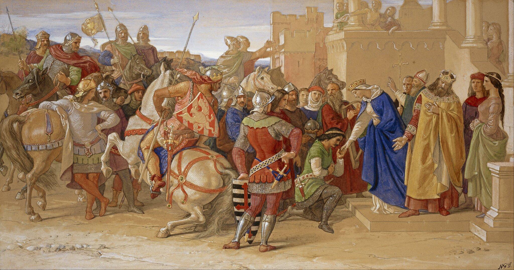 Rycerze Okrągłego Stołu wyruszają na poszukiwanie świętego Graala Źródło: William Dyce, Rycerze Okrągłego Stołu wyruszają na poszukiwanie świętego Graala, 1849, Scottish National Gallery, domena publiczna.