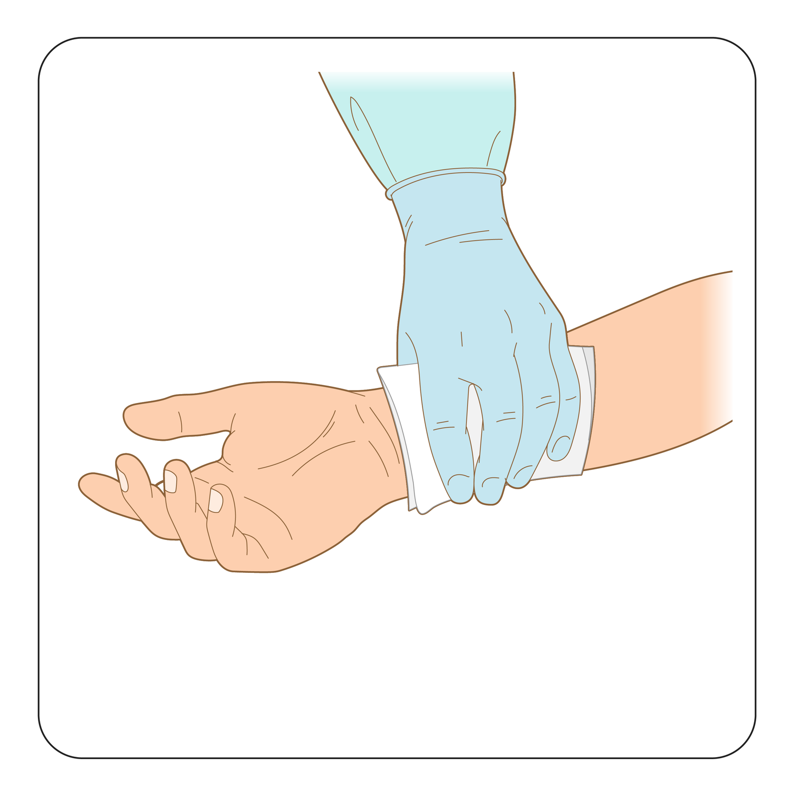 Ilustracja przedstawia sposób umieszczenia jałowej gazy na zranieniu. Prawa ręka skierowana wlewą stronę. Dłoń otwarta, wnętrzem skierowana wstronę obserwatora. Sanitariusz, przykłada jałową gazę na miejsce zranienia powyżej nadgarstka. Dłoń sanitariusza wgumowej rękawicy ochronnej.