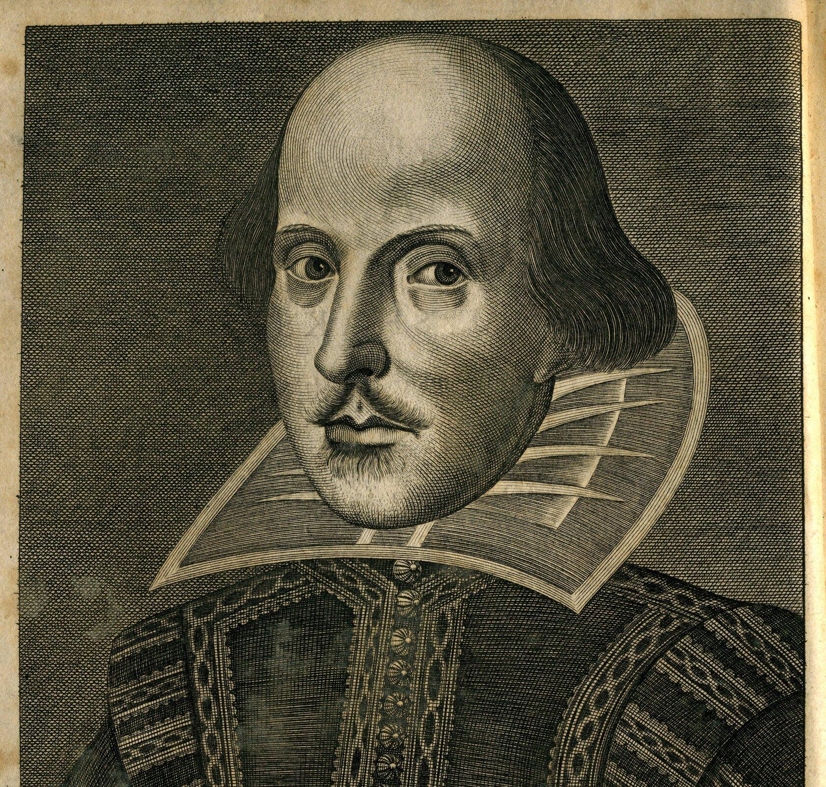 """William Shakespeare,rycina zkarty tytułowej tzw. """"Pierwszego Folio"""" William Shakespeare,rycina zkarty tytułowej tzw. """"Pierwszego Folio"""" Źródło: 1632, domena publiczna."""