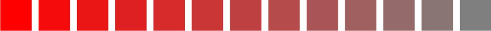 Ilustracja przedstawia nasycenie koloru. Próbka zlewej strony przedstawia kolor obarwie czerwonej wpełnym nasyceniu. Próbka zprawej strony przedstawia kolor obarwie szarej.