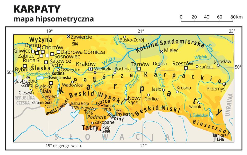 Ilustracja przedstawia mapę hipsometryczną południowej części Polski, obejmującą Karpaty, Pogórze Karpackie, Wyżynę Śląską iKotlinę Sandomierską. Na mapie dominuje kolor żółty oznaczający wyżyny ikolor pomarańczowy obrazujący góry.Oznaczono iopisano miasta, rzeki, jeziora iszczyty. Opisano góry, wyżyny ikotliny oraz państwa sąsiadujące zPolską.Dookoła mapy wbiałej ramce opisano współrzędne geograficzne co dwa stopnie.