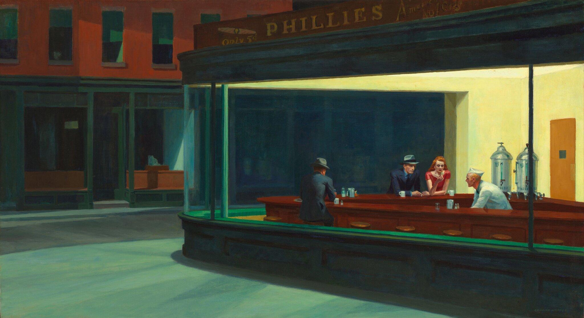 Edward Hopper,Nighthawks [Nocne jastrzębie], 1942, The Art Institute of Chicago Edward Hopper,Nighthawks [Nocne jastrzębie], 1942, The Art Institute of Chicago Źródło: domena publiczna.