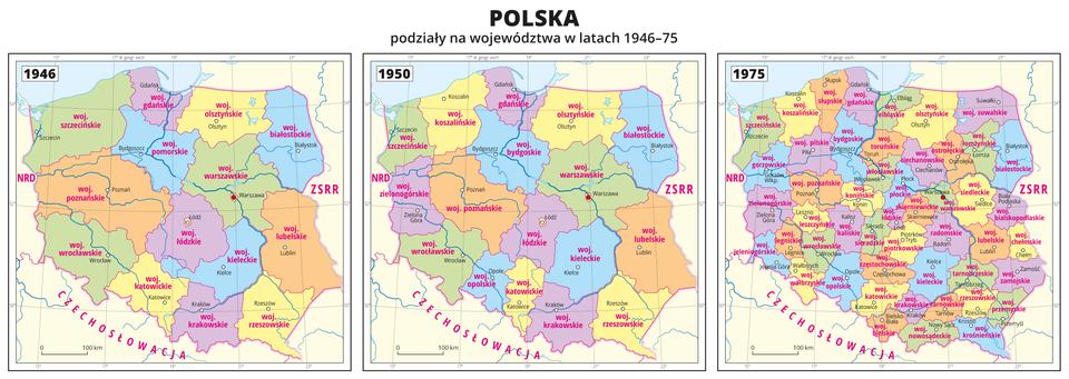 Ilustracja przedstawia trzy mapy ukazujące podziały administracyjne Polski wtysiąc dziewięćset czterdziestym szóstym roku, wtysiąc dziewięćset pięćdziesiątym roku iwtysiąc dziewięćset siedemdziesiątym piątym roku. Województwa oznaczono kolorami iopisano. Opisano państwa sąsiadujące zPolską. Na każdej mapie zapisano rok. Wyraźnie widać, że ilość województw wkolejnych latach zwiększała się. Wszystkie trzy mapy pokryte są równoleżnikami ipołudnikami. Dookoła map wbiałej ramce opisano współrzędne geograficzne co dwa stopnie.