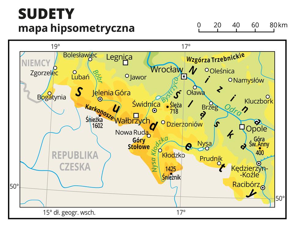 Ilustracja przedstawia mapę hipsometryczną południowej części Polski, obejmującą Sudety iNizinę Śląską. Na mapie kolorem zielonym oznaczono niziny, żółtym – wyżyny, apomarańczowym – góry.Oznaczono iopisano miasta, rzeki, jeziora iszczyty. Opisano góry, wyżyny iniziny oraz państwa sąsiadujące zPolską.Dookoła mapy wbiałej ramce opisano współrzędne geograficzne co dwa stopnie.