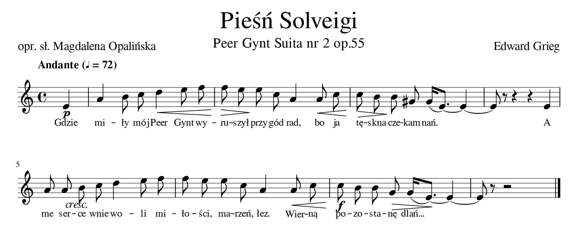 """Zapis nutowy utworu """"Pieśń Solveigi""""."""