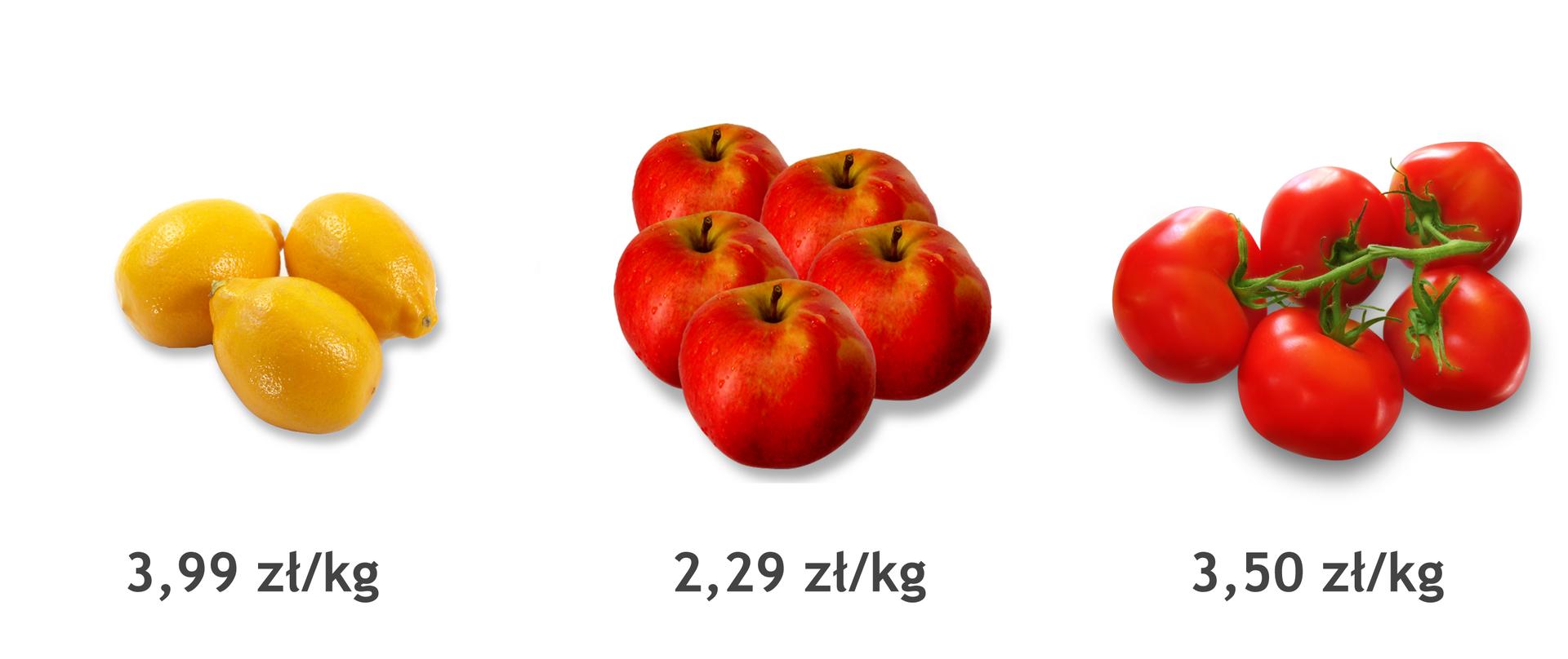 Rysunek cytryny, pomidora ijabłka zpodanymi cenami. Cena cytryn 3,99 zł za kilogram. Cena pomidorów 3,50 zł za kilogram. Cena jabłek 2,29 zł za kilogram