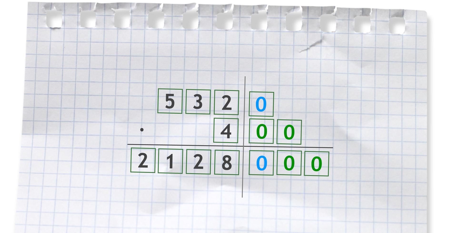 Przykład: 5320 razy 400. Aby pomnożyć 5320 razy 400, należy wysunąć wprawo wszystkie zera obu liczb. Następnie wykonujemy mnożenie przez 4. Do wyniku dopisujemy tyle zer, ile ich jest razem wobu czynnikach. 5320 razy 400 =2128000.