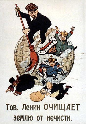 Karykatura Lenina sprzątającego świat Karykatura Lenina sprzątającego świat Źródło: domena publiczna.
