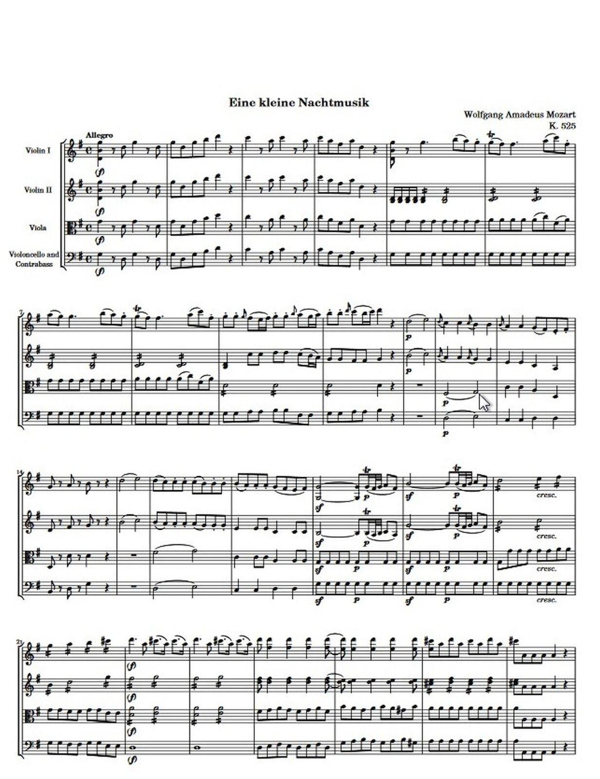 """Zdjęcie przedstawia graficzny utwór muzyczny. Fotografia ukazuje czarną pięciolinię znutami, na białej stronie utworu W.A. Mozart, """"Serenada G-dur Eine kleine Nachtmusik"""" KV 525."""