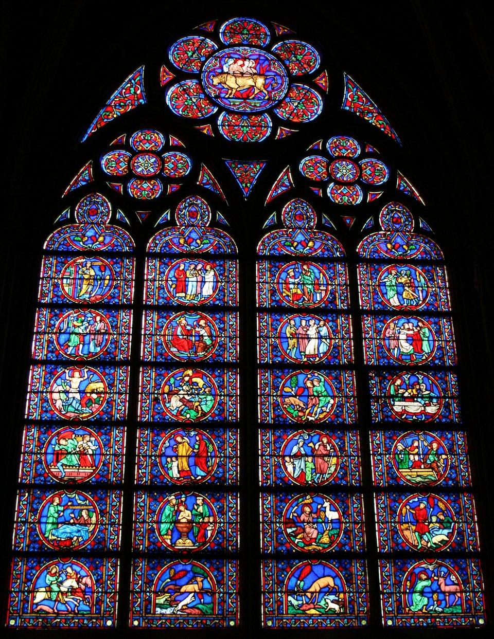 Okno iwitraż wkatedrze Notre-Dame wParyżu Okno iwitraż wkatedrze Notre-Dame wParyżu Źródło: WeEnterWinter, Wikimedia Commons, licencja: CC BY-SA 3.0.