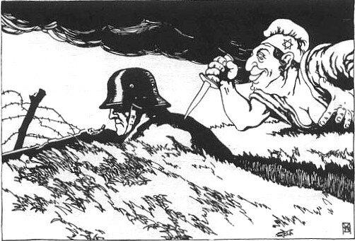 Niemiecka pocztówka propagandowa z1919 roku Źródło: Niemiecka pocztówka propagandowa z1919 roku.