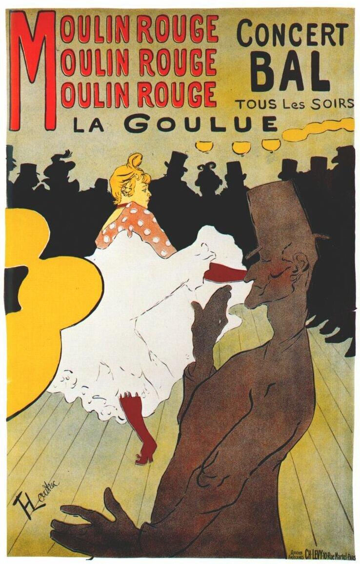 Moulin Rouge: La Goulue Ilustracja 1 Źródło: Henri Henri Toulouse-Lautrec, Moulin Rouge: La Goulue, 1891, litografia barwna, domena publiczna.