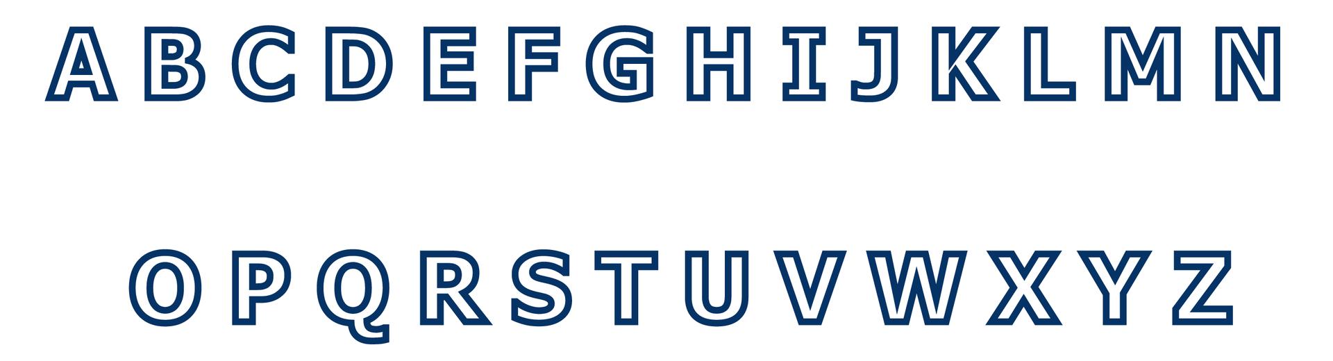Rysunek dwudziestu sześciu kolejnych liter alfabetu łacińskiego.