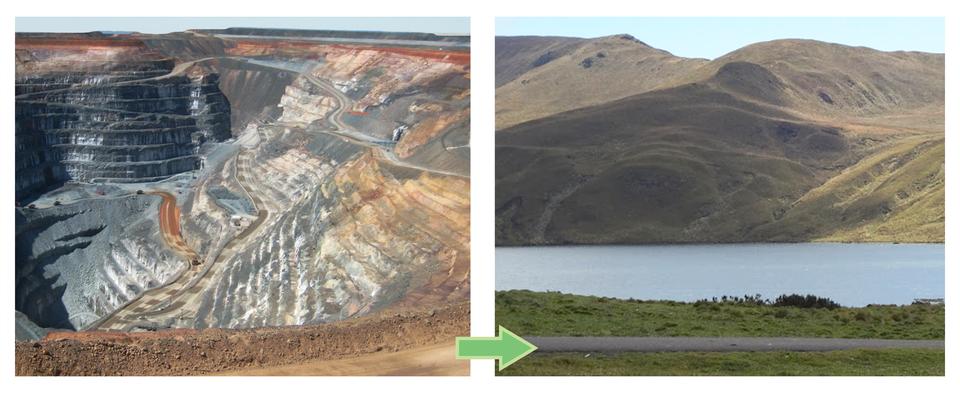 Galeria prezentująca pary fotografii tego samego terenu przed ipo rekultywacji.Fotografia po lewej stronie ukazuje głębokie irozległe wyrobisko. Obok fotografia tego samego wyrobiska wypełnionego wodą.