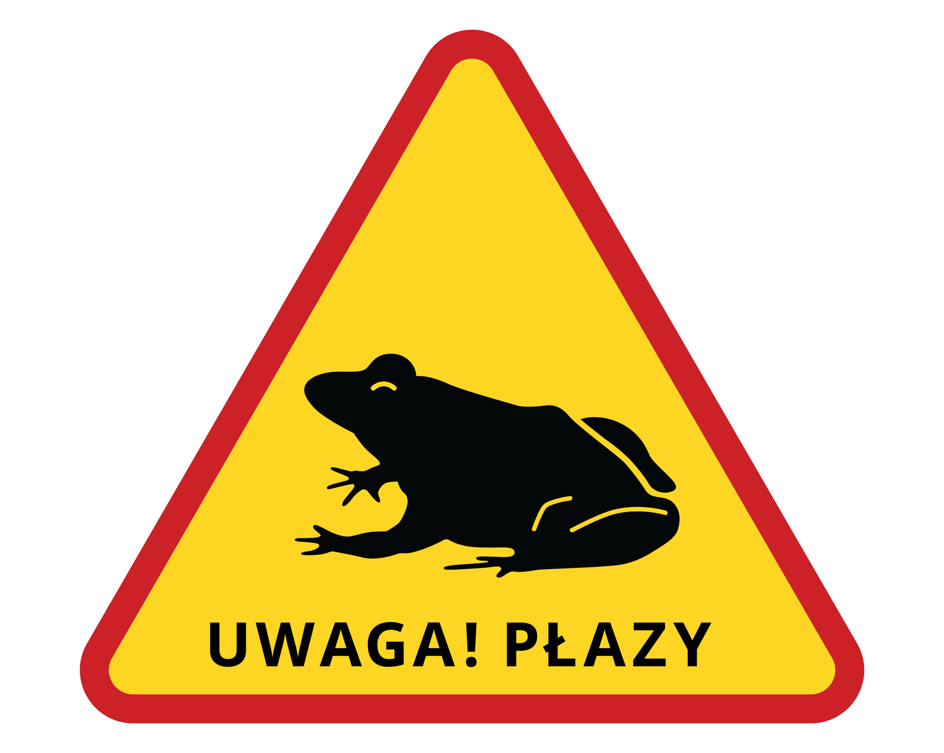 Ilustracja przedstawia trójkątny znak ostrzegawczy, żółty zczerwoną obwódką. Na znaku czarna sylwetka siedzącej żaby inapis: uwaga płazy! Takie znaki są ustawiane wmiejscach wędrówek płazów.
