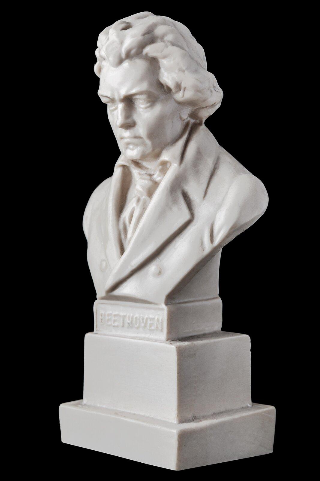 Ilustracja przedstawia popiersie słynnego niemieckiego kompozytora Ludviga van Beethovena. Mężczyzna zpoważną mimiką twarzy, włosy dłuższe, lekko kręcone. Ubrany wkoszulę, krawat ifrak.