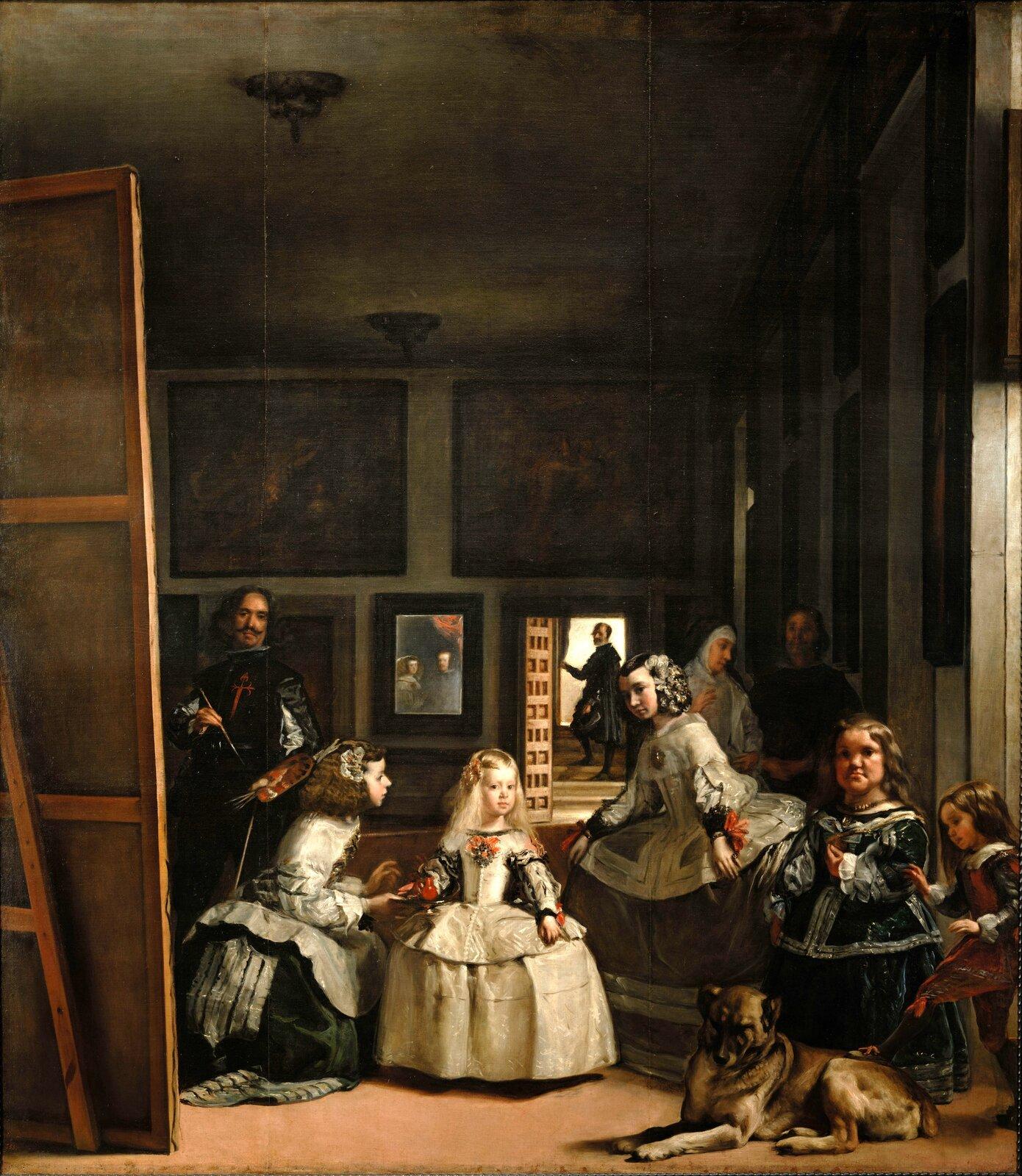 """Ilustracja przedstawia dzieło Velázqueza """"Panny dworskie"""". Obraz przedstawia pięcioletnią infantkę Małgorzatę Teresę. Dziewczynka stoi wcentralnej części płótna. Ubrana jest wbiałą, jedwabna suknię, zgodną zówczesną hiszpańską modą. Otaczają ją dworzanie. Po lewej, jedna zdwórek, Maria Augustina Sarmiento, ubrana wciemnozieloną, aksamitną suknię, oferuje księżniczce napój wglinianym, czerwonym dzbanuszku podanym na srebrnej tacy. Druga – Isabel de Velasco stoi po prawej stronie wjedwabnej, szarej sukni iwukłonie pochyla się wstronę następczyni tronu. Nieco bliżej widza, wprawym rogu obrazu, stoi karlica zwana Maribarbola ubrana wciemnoniebieską suknię wykończoną białą lamówką. Jej twarz skierowana jest wstronę widza, poza ramy obrazu. Obok niej malarz ukazał pazia, Nicolasa Pertusato, szturchającego nogą dużego psa. Na drugim planie, nieco wcieniu stoją dwie postacie zajęte rozmową. To opiekunka infantki Marcela de Ulloa, ubrana wstrój przypominający szatę mniszki, oraz ubrany na czarno ochmistrz, czyli zarządca dworu, atakże opiekun małej Małgorzaty. Za nimi, wgłębi pomieszczenia, wotwartych na oścież drzwiach stoi Jose de Nieto – majordomus iszambelan królowej, aposentador (czyli zarządca, marszałek dworu) na królewskim dworze. Stoi on na schodach, prawą dłonią odsuwa wiszącą wdrzwiach kotarę, wpuszczając do pomieszczenia jasne, dzienne światło. Lewa strona obrazu zdominowana jest natomiast przez olbrzymie płótno, przed którym stoi sam Velázquez, zpaletą wlewej idługim pędzlem wprawej ręce. Wychyla się on nieco zza płótna, zerkając przed siebie, wstronę modeli, którzy prawdopodobnie stoją przed nim, wmiejscu widza. Artysta ubrany jest wciemny strój. Ujego pasa wisi klucz do komnaty iklucz szambelański. Jego pierś zdobi zaś szkarłatny krzyż Zakonu św. Jakuba – symbol uzyskanego niedawno szlachectwa. Jeśli się dobrze przyjrzeć, na tylnej ścianie pomieszczenia, wktórym rozgrywa się namalowana scena, widać lustro, wktórym odbija się para królewska, Filip IV Habsburg i"""