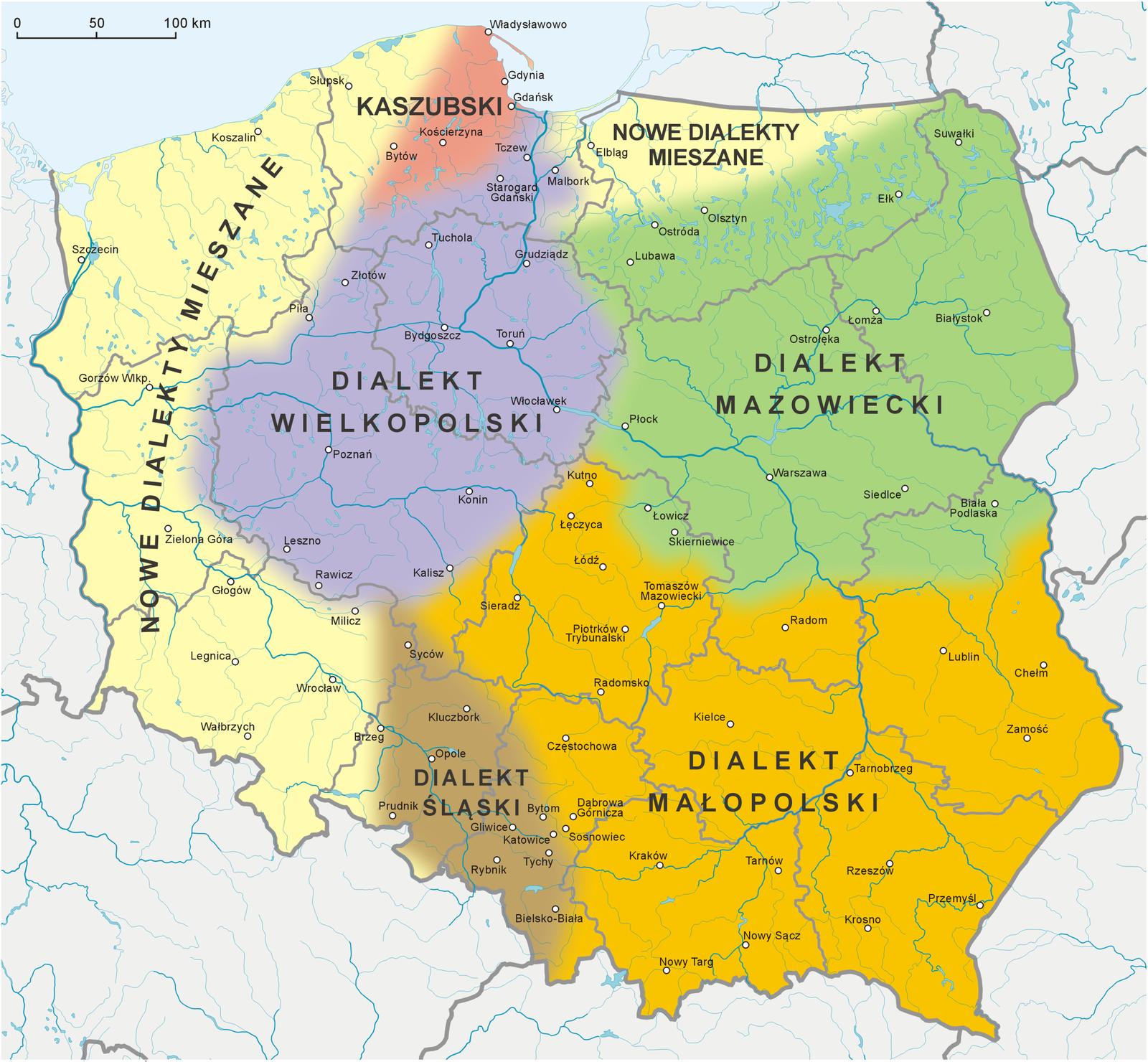 Podział współczesnej Polski na dialekty Podział współczesnej Polski na dialekty Źródło: Wikimedia Commons/Aotearoa, licencja: CC BY-SA 3.0.