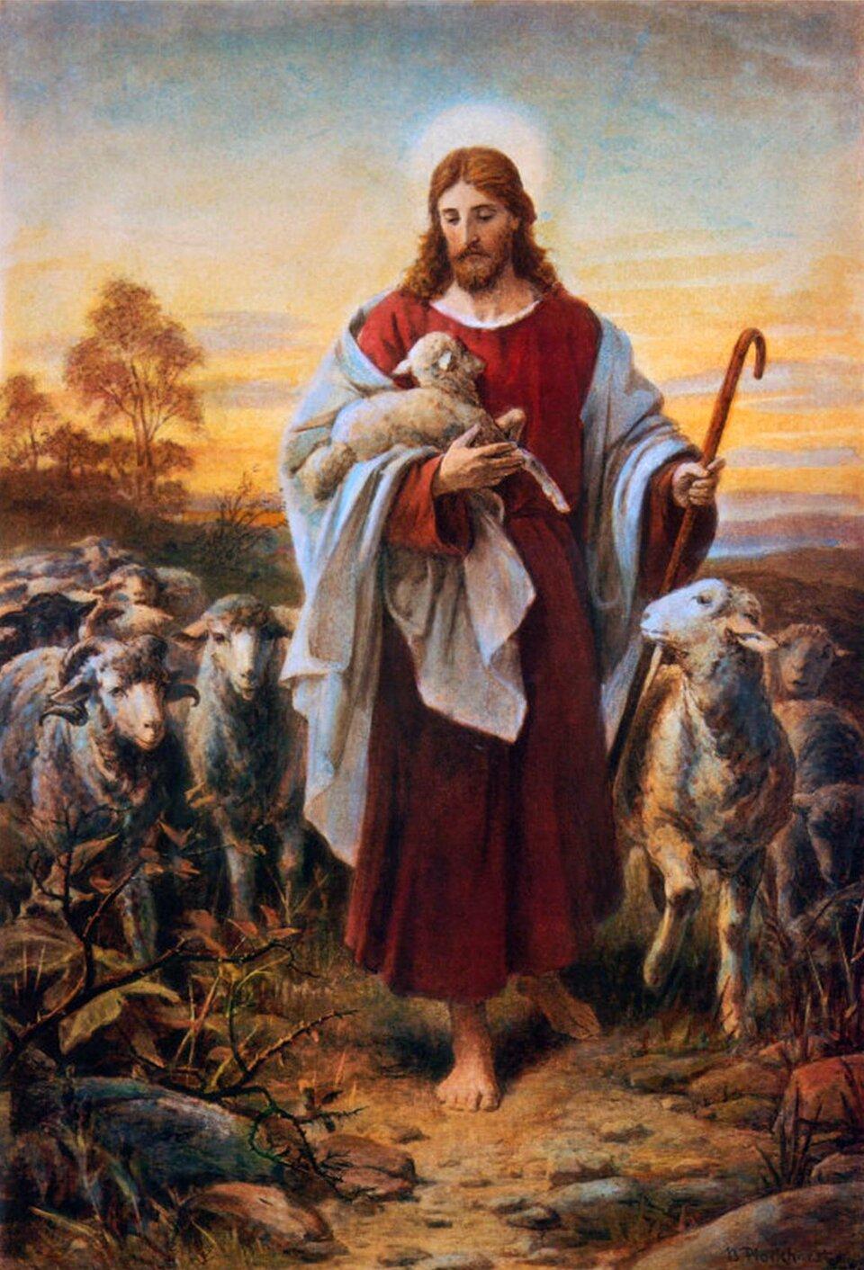 Dobry pasterz Źródło: Bernhard Plockhorst, Dobry pasterz, XIX wiek, domena publiczna.