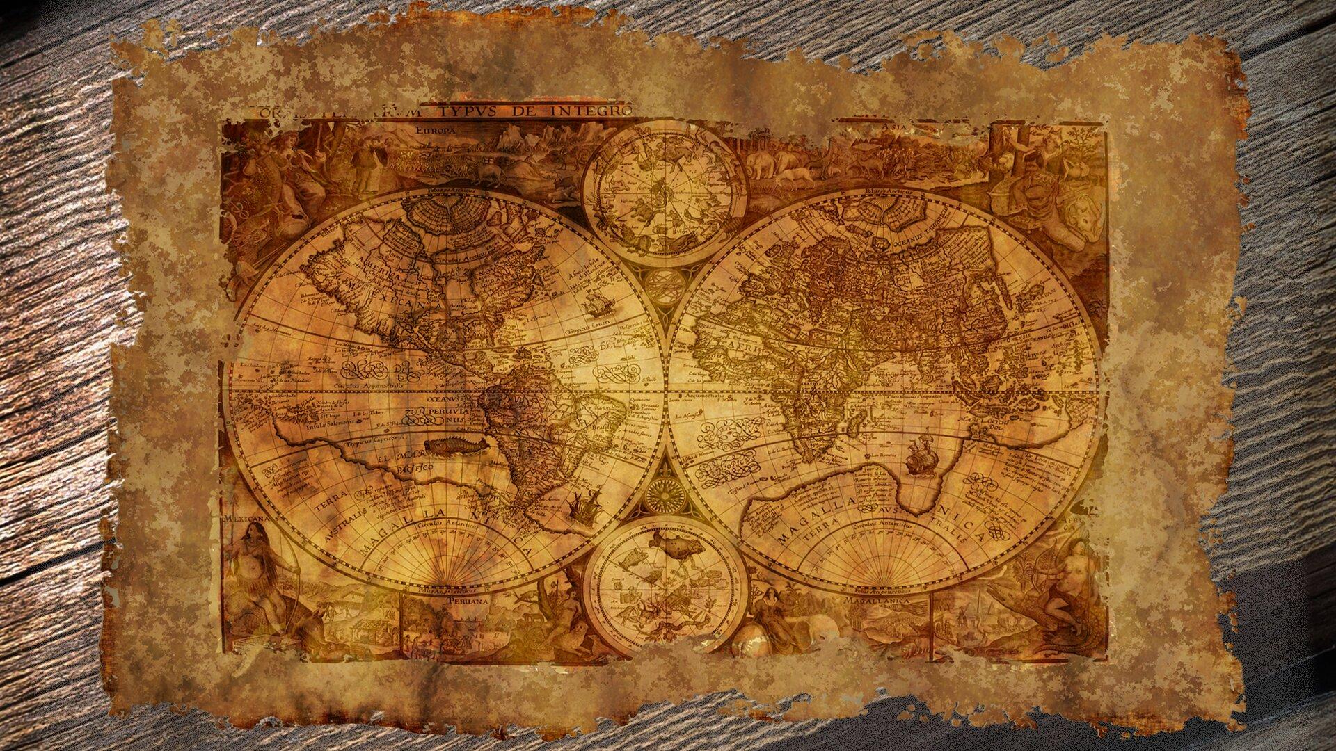 """Ilustracja przedstawia fragment postrzępionego papieru lub pergaminu leżący na powierzchni zdesek. Na tym arkuszu przedstawiona jest szesnastowieczna mapa świata. Dwa okręgi stykające się ze sobą symbolizują dwie półkule ziemskie. Na nich narysowane są kontury lądów zgodne ze stanem wiedzy wszesnastym wieku. Poza okręgami arkusz wypełniają rysunki ludzi istworzeń, które miały zamieszkiwać dalekie kraje. Na górnej postrzępionej krawędzi mapy widać fragment tytułu: """"…TYPUS DE INTEGRO…""""."""