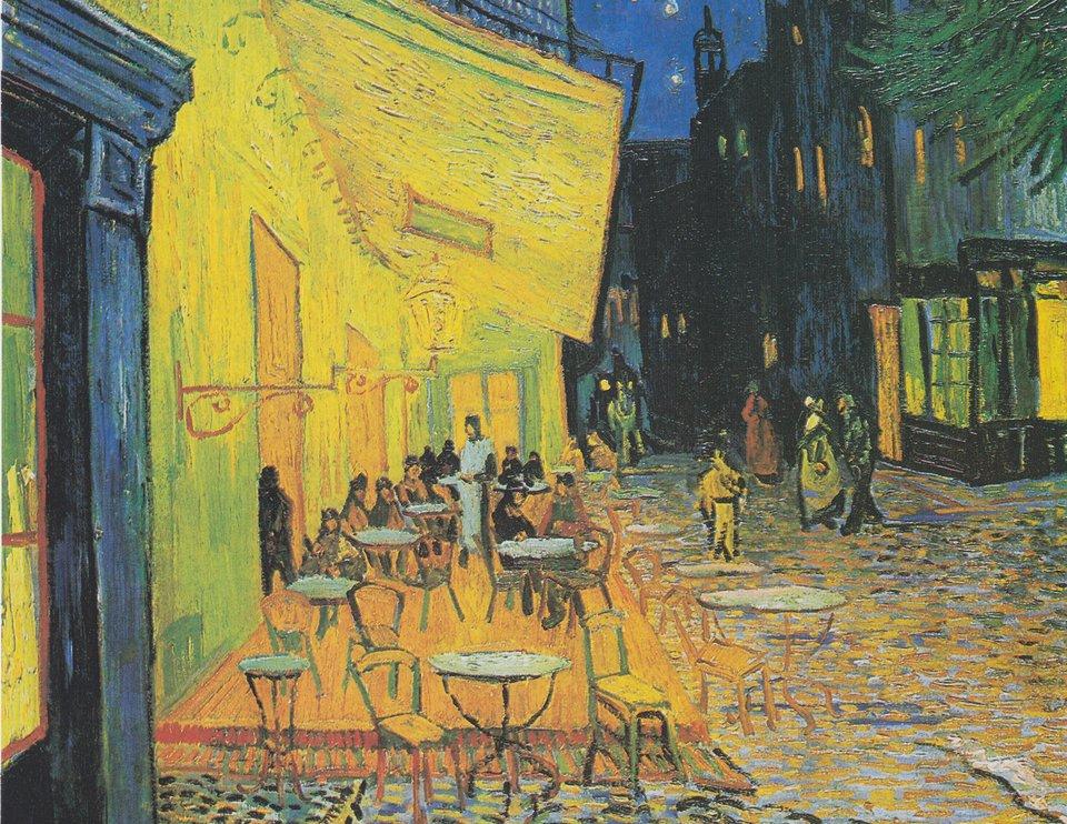 Taras kawiarni wnocy Źródło: Vincent van Gogh, Taras kawiarni wnocy , 1888, obraz olejny, domena publiczna.