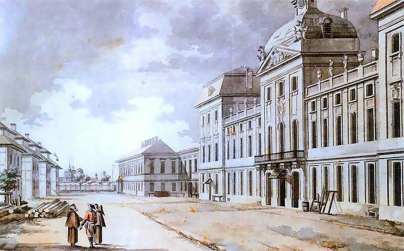 Szkoła rycerska Źródło: Zygmunt Vogel, Szkoła rycerska, 1785, akwarela na papierze, Muzeum Narodowe wWarszawie, domena publiczna.