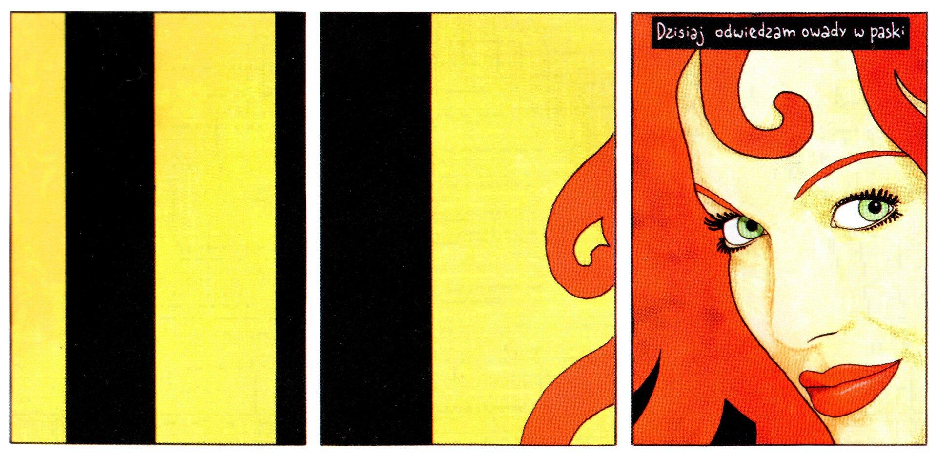 """Ilustracja przedstawia scenę zkomiksu """"Weronika sama wdomu"""". Kobieta wczerwonych włosach na żółto - czarnym tle wpionowe paski. Nad jej głową jest napis: """"Dzisiaj odwiedzam owady wpaski"""". Scena wykonana techniką kolażu."""