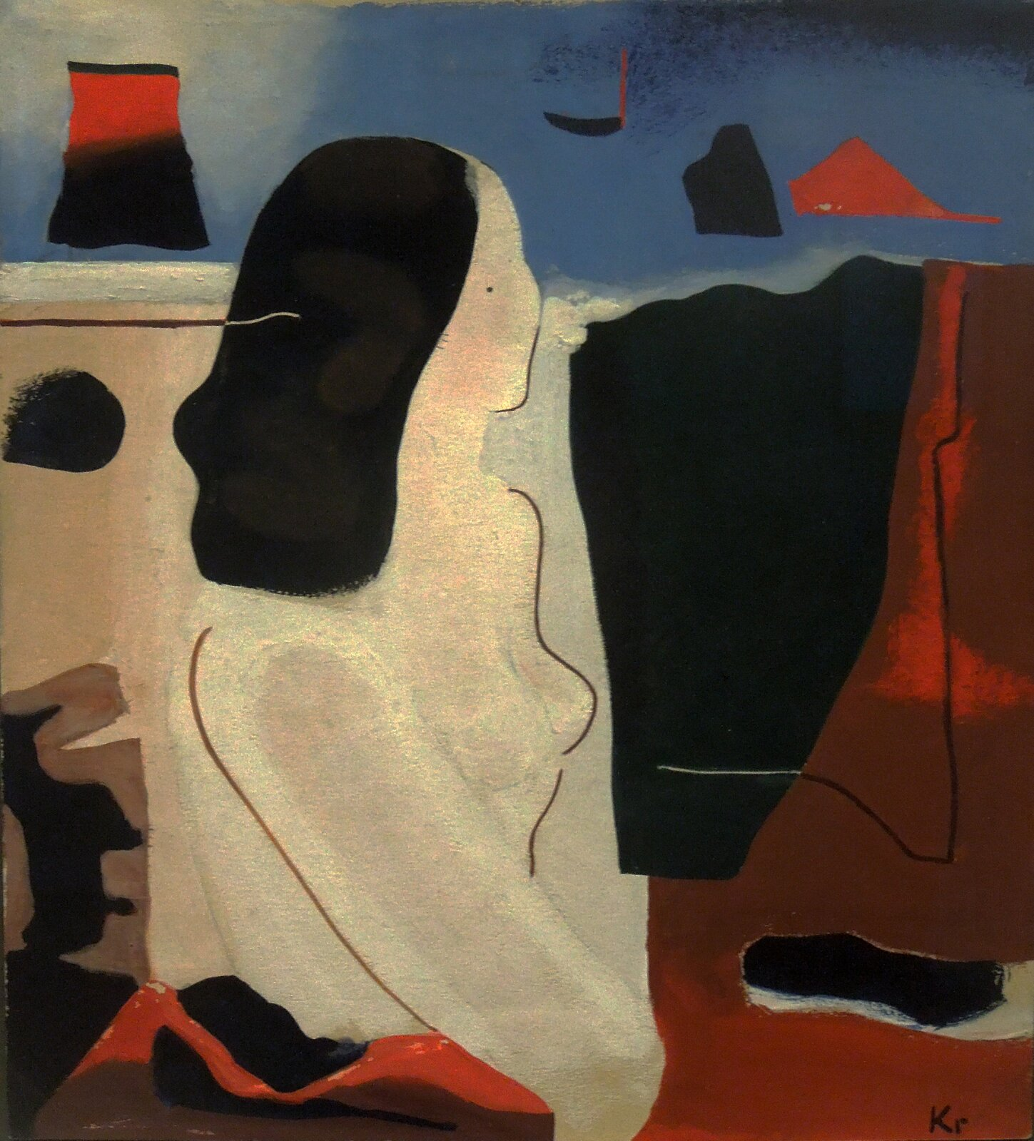 """Ilustracja przedstawia obraz """"Akt"""" autorstwa Karola Kryńskiego. Dzieło ukazuje syntetycznie ujęty akt kobiety. Wfiguratywnym przedstawieniu widać duży wpływ koncepcji sztuki abstrakcyjnej. Postać ukazana jest do pasa. Włosy namalowane są jedną, czarną, długą, płaską plamą. Tułów stanowi jasny kształt, na którym artysta przy pomocy białych przetarć ukazał światło, jedynie sugerujące wypukłości ciała. Przy pomocy cienkich, brązowych linii zaznaczył fragment profilu twarzy, ramię ipierś oraz kawałek ręki modelki. Małym ciemnym punktem zaznaczył oko. Postać wpisana jest wpodzielone na trzy plamy barwne tło. Ugóry znajduje się pas koloru niebieskiego, po prawej stronie czerwono-brązowa natomiast po lewej jasno-beżowa plama. Na ich tle umieszczone są płaskie, nieregularne kształty wczarnym, czerwonym ibeżowym kolorze. Kompozycja obrazu jest otwarta. Obraz wykonany jest techniką gwaszu."""