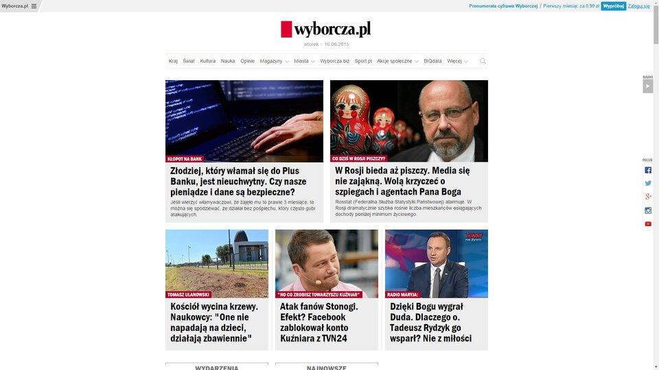Zrzut ekranu ze strony wyborcza.pl