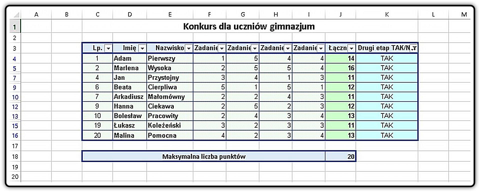 Zrzut tabeli pokazującej efekt filtrowania