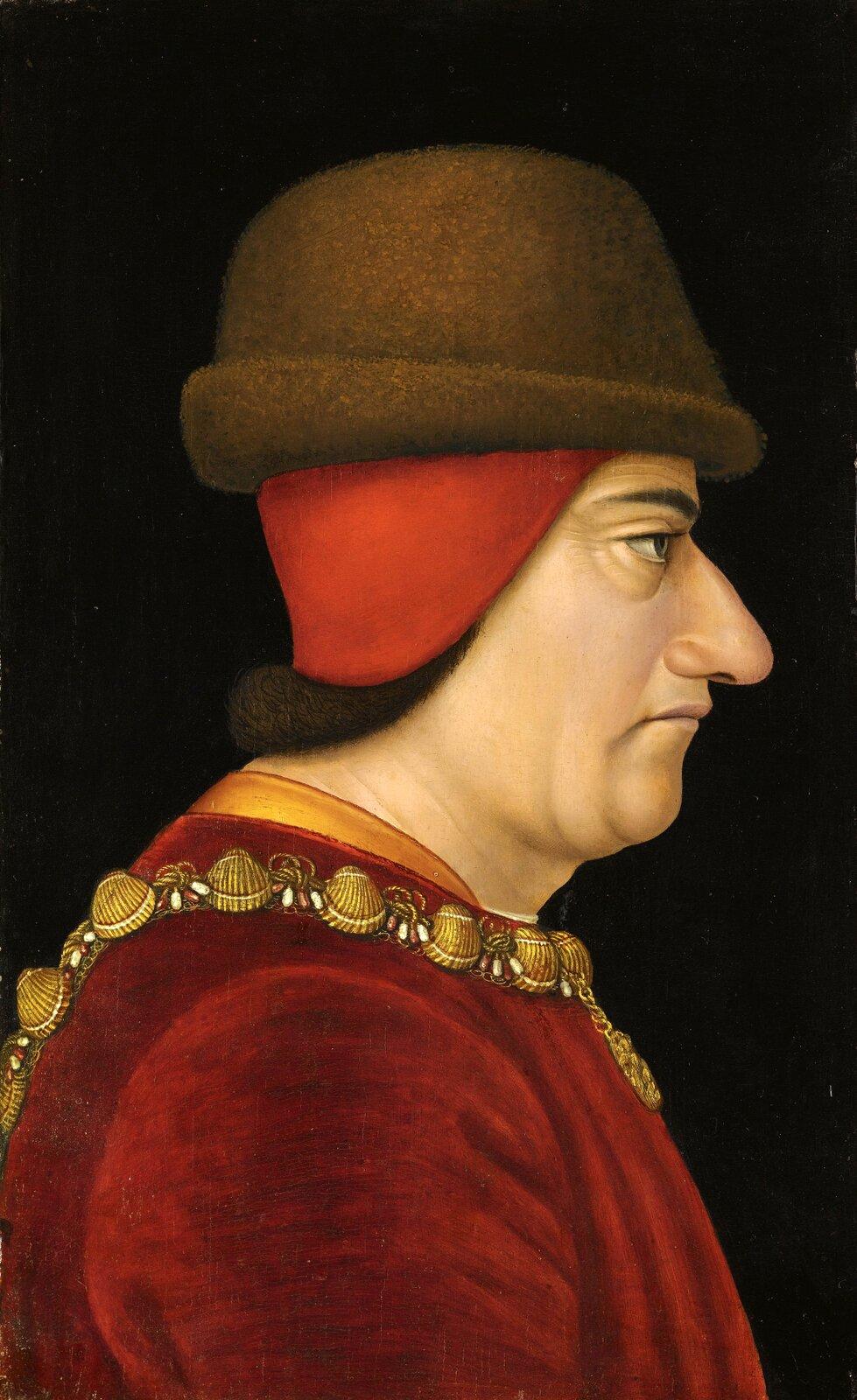 Portretanonimowego malarza zXV w. przedstawiający Ludwika XI Portretanonimowego malarza zXV w. przedstawiający Ludwika XI Źródło: Muzeum wNowym Jorku, domena publiczna.