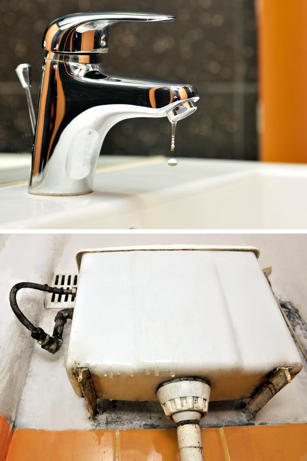 Pierwsza ilustracja wgalerii. Składa się zdwóch zdjęć umieszczonych jedno nad drugim. Na pierwszym widać baterię umywalkową oglądaną zboku, model zpojedynczą dźwignią, tak zwanym mieszadłem. Zsitka wylotowego cieknie woda. Zdjęcie dolne przedstawia stary, mocno przeciekający zbiornik wody wtoalecie typu górnopłuk. Ściana za zbiornikiem pokryta jest naciekami igrzybem.