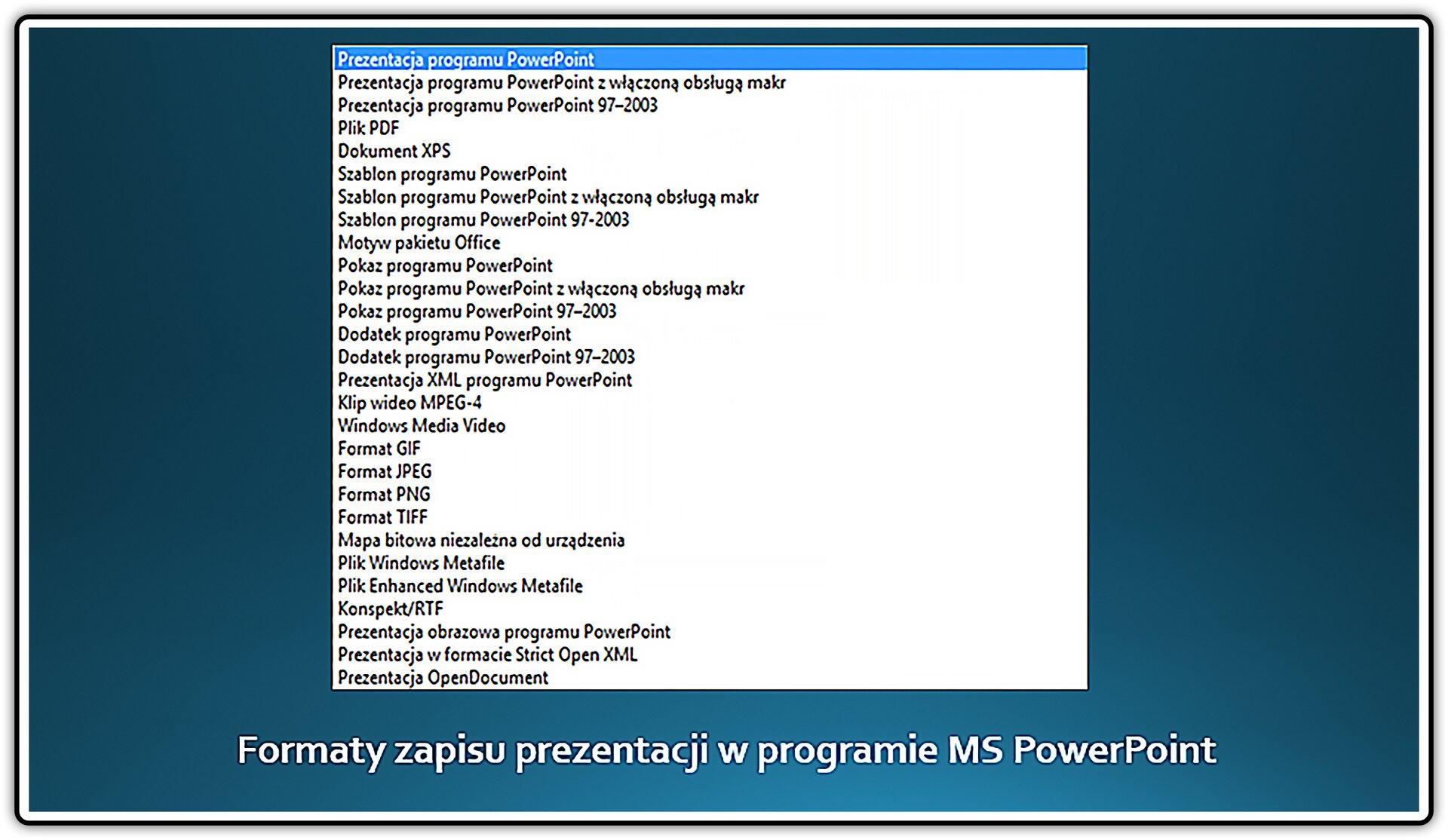Zrzut slajdu zformatami zapisu prezentancji wprogramie MS PowerPoint