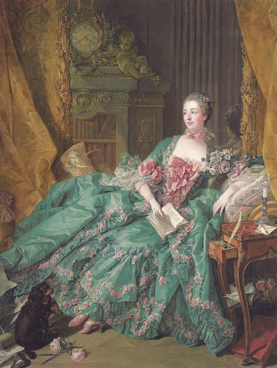 Madame de Pompadour Portret markizy de Pompadour namalowany przez F. Bouchera ok. 1756r. Obecnie znajduje sięwmuzeum Alte Pinakotheka wMonachium. Źródło: François Boucher, Madame de Pompadour, 1756, olej na płótnie, Alte Pinakothek, domena publiczna.