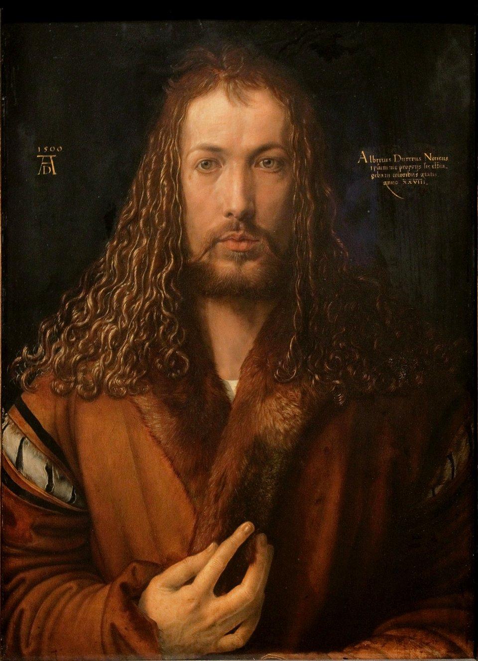 Autoportret Źródło: Albrecht Dürer, Autoportret, 1500, olej na desce, Stara Pinakoteka wMonachium, domena publiczna.